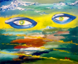 1.2. Neant, Nothingness, şi duhul lui Dumnezeu plutea deasupra apelor And the Spirit of God moved upon t5he face of the waters 40x50 acrylic on canvas, 2011