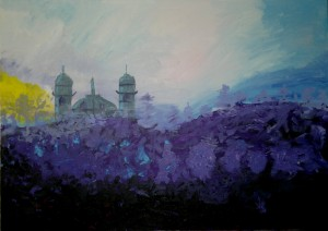 Catedrala in amurg,  Cathedral in dusk 50x70, acrylic on canvas 2012